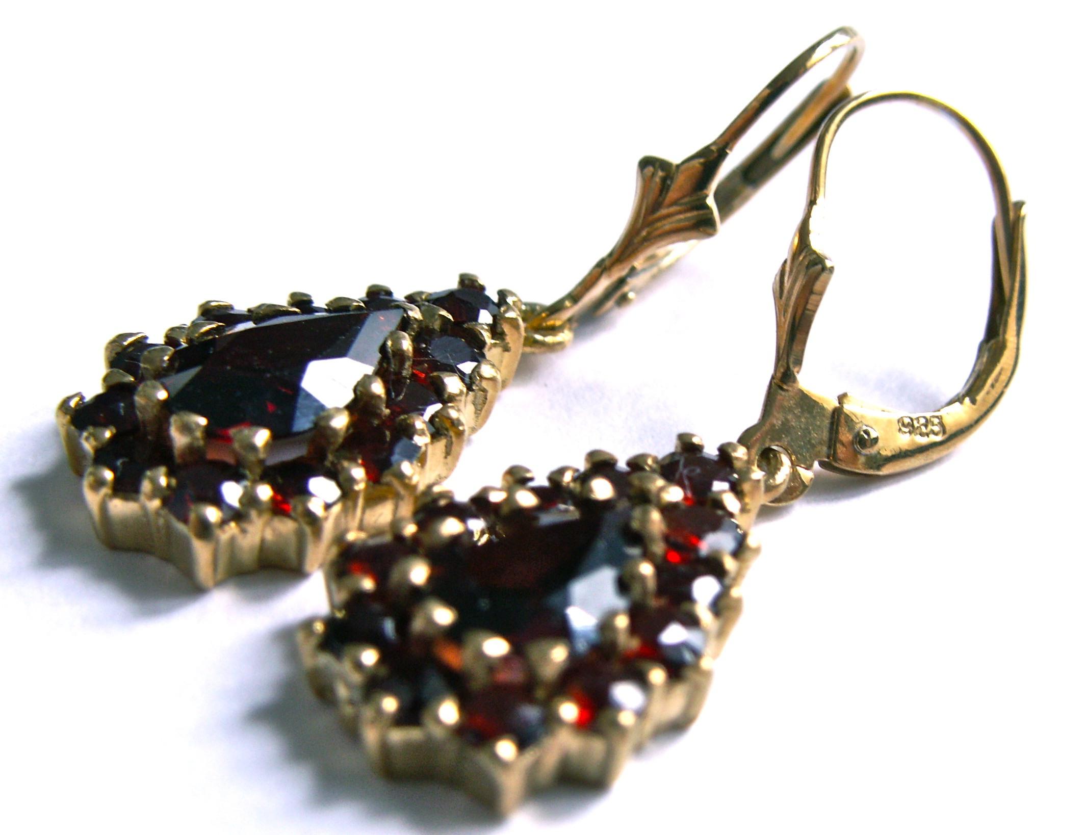 Garnet Earrings Silver