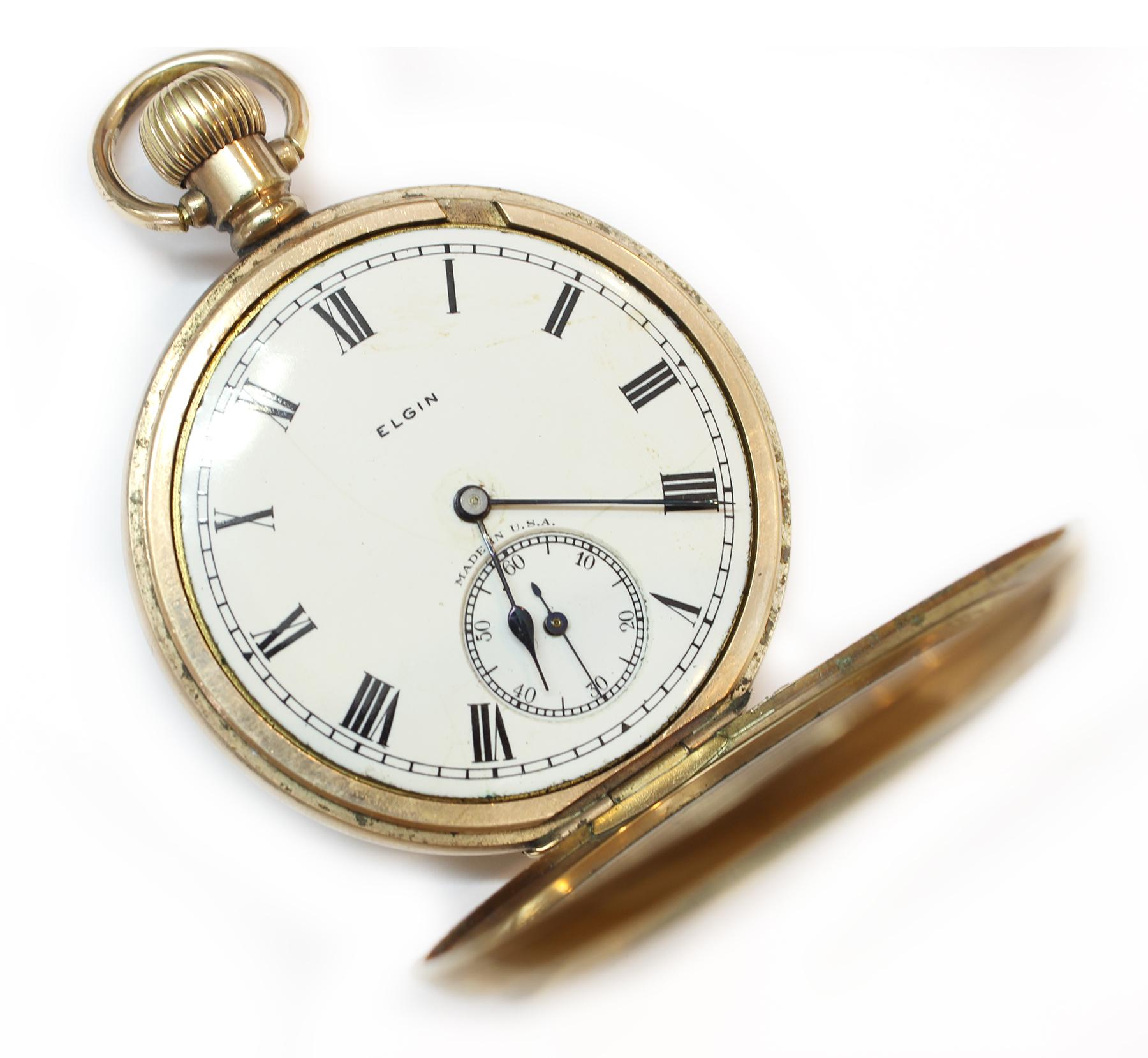 Antike taschenuhr mit kette  Antike TASCHENUHR, USA 1925: Elgin National Watch Corp Gold Doublé ...