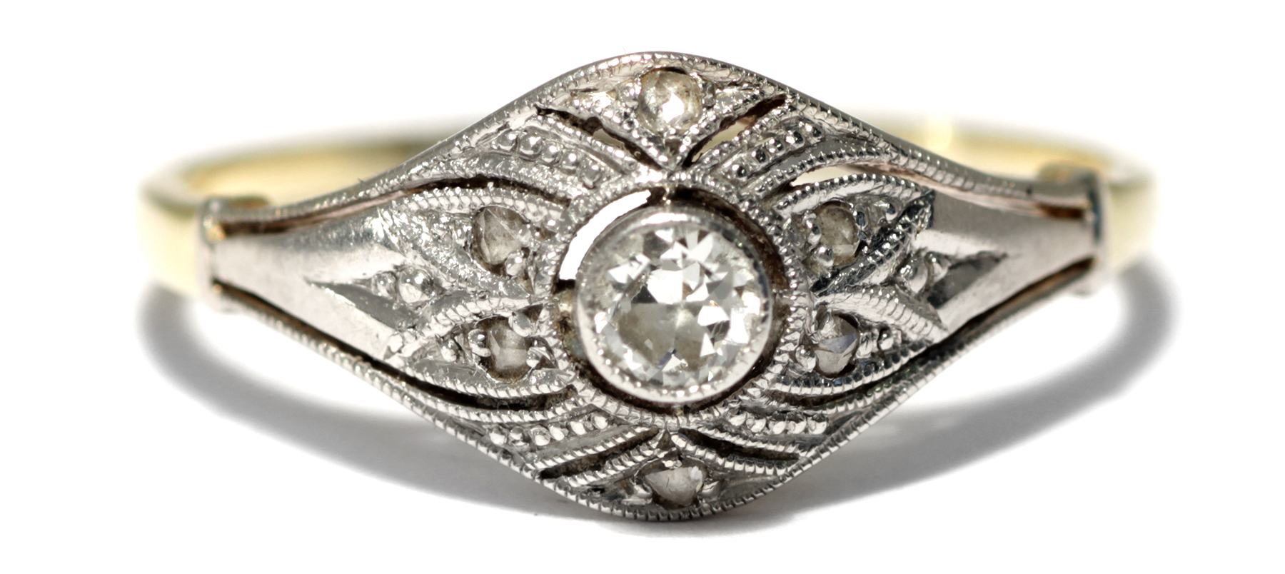 feiner art d co ring um 1925 diamant 585 gold platin verlobungsring diamanten ebay. Black Bedroom Furniture Sets. Home Design Ideas