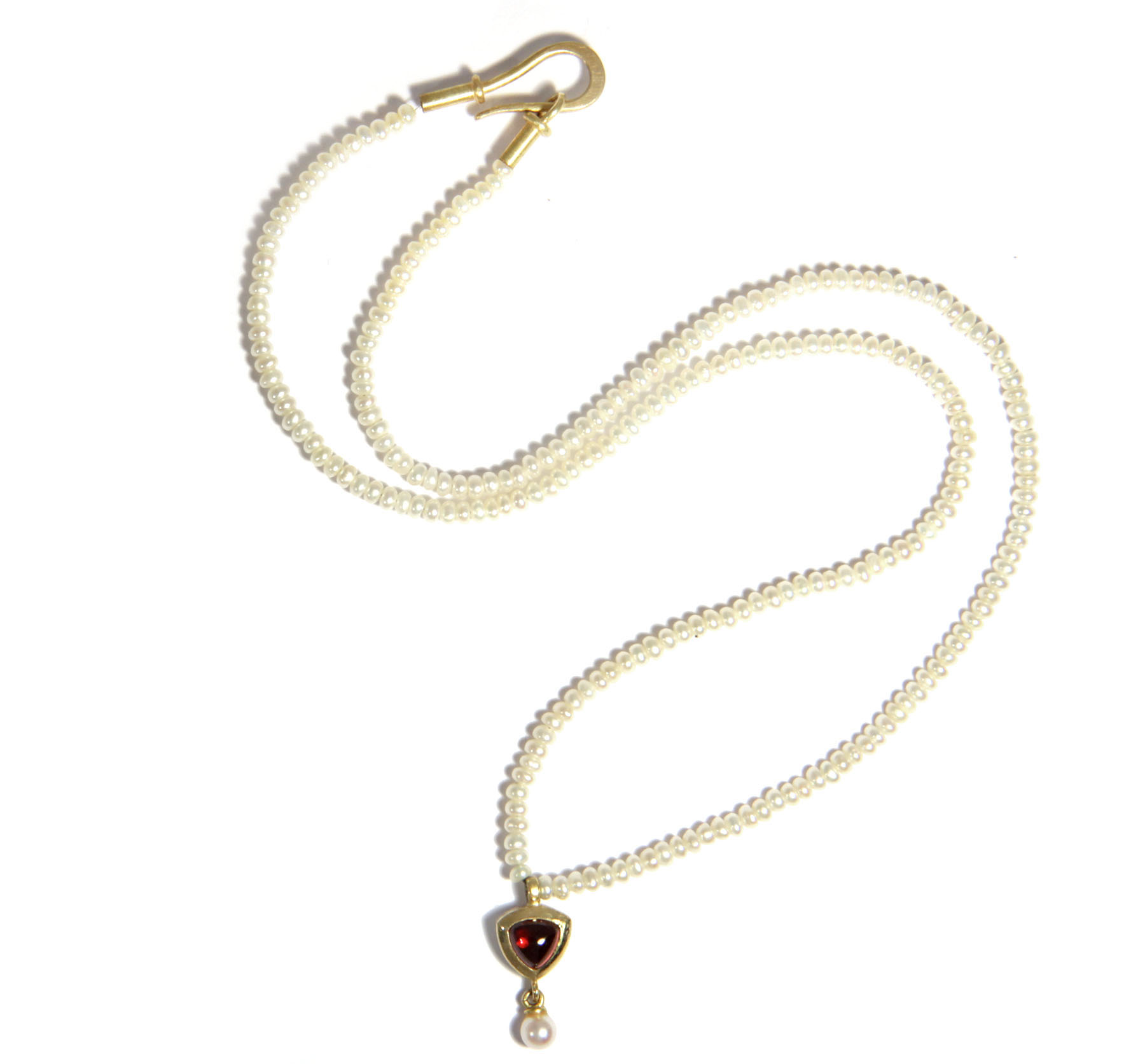 feine perlenkette spessartin anh nger zuchtperlen gold 750 kette collier perlen ebay. Black Bedroom Furniture Sets. Home Design Ideas