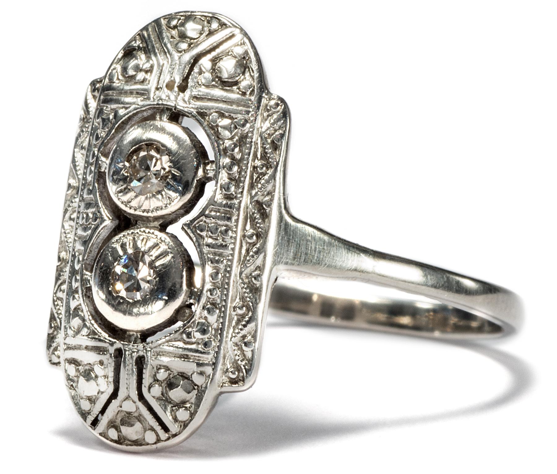 sch ner antiker art d co diamant ring um 1920 silber diamanten schiffchenring ebay. Black Bedroom Furniture Sets. Home Design Ideas